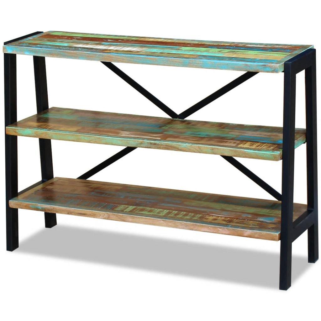 Příborník / regál se 3 policemi z masivního recyklovaného dřeva