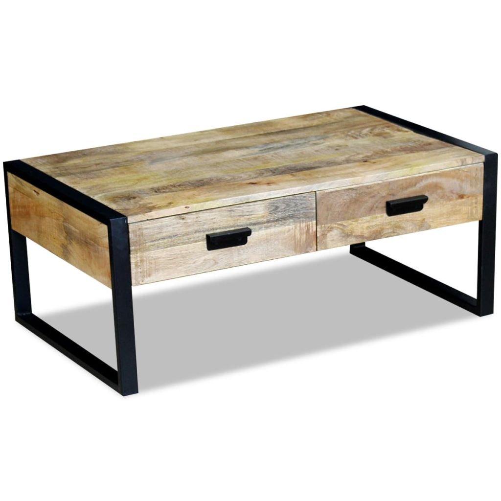 Konferenční stolek se 2 zásuvkami - masivní mangovníkové dřevo | 100x60x40 cm