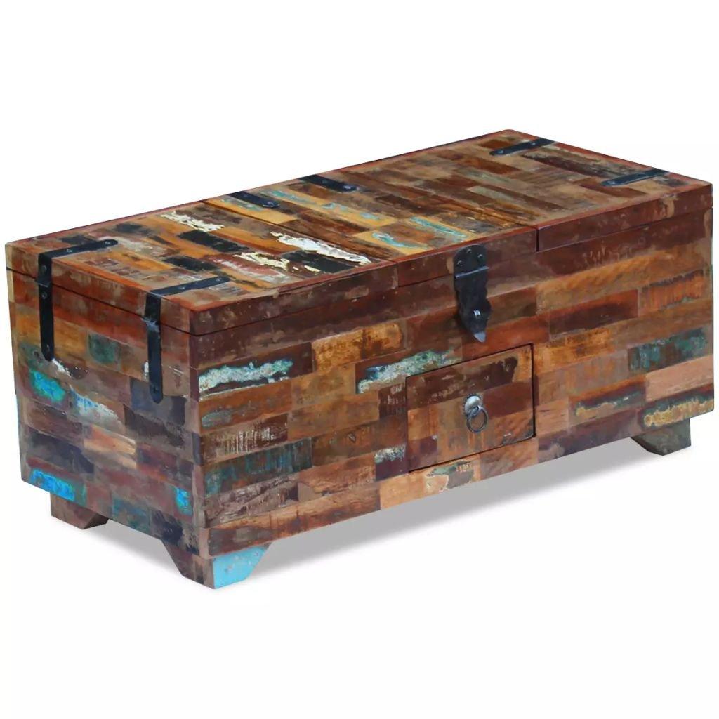 Konferenční stolek truhla - masivní recyklované dřevo | 80x40x35 cm