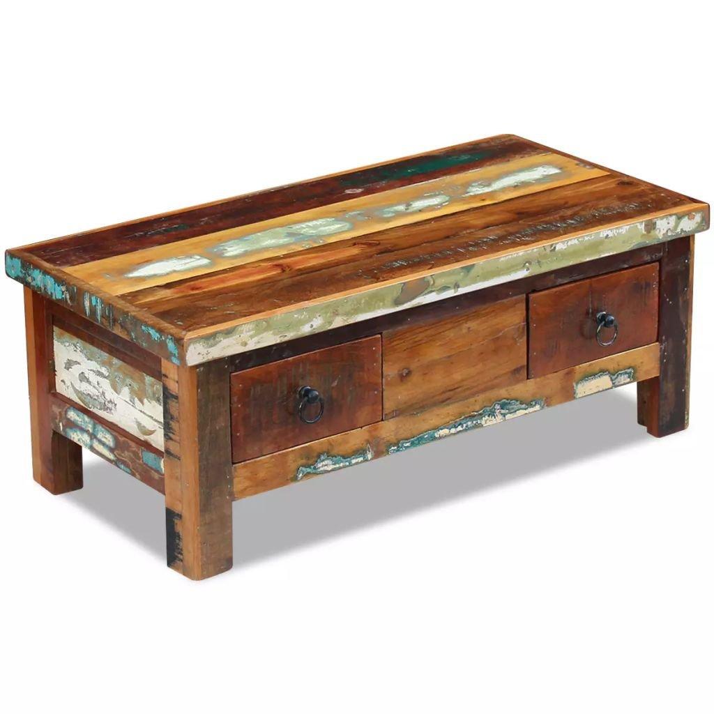 Konferenční stolek se zásuvkami - masivní recyklované dřevo | 90x45x35 cm