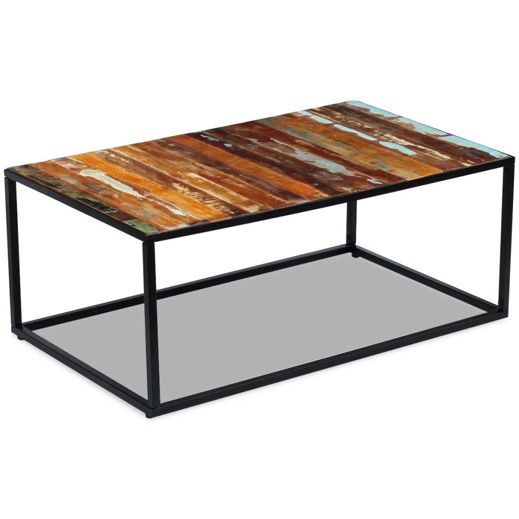 Konferenční stolek - masivní regenerované dřevo | 100x60x40 cm