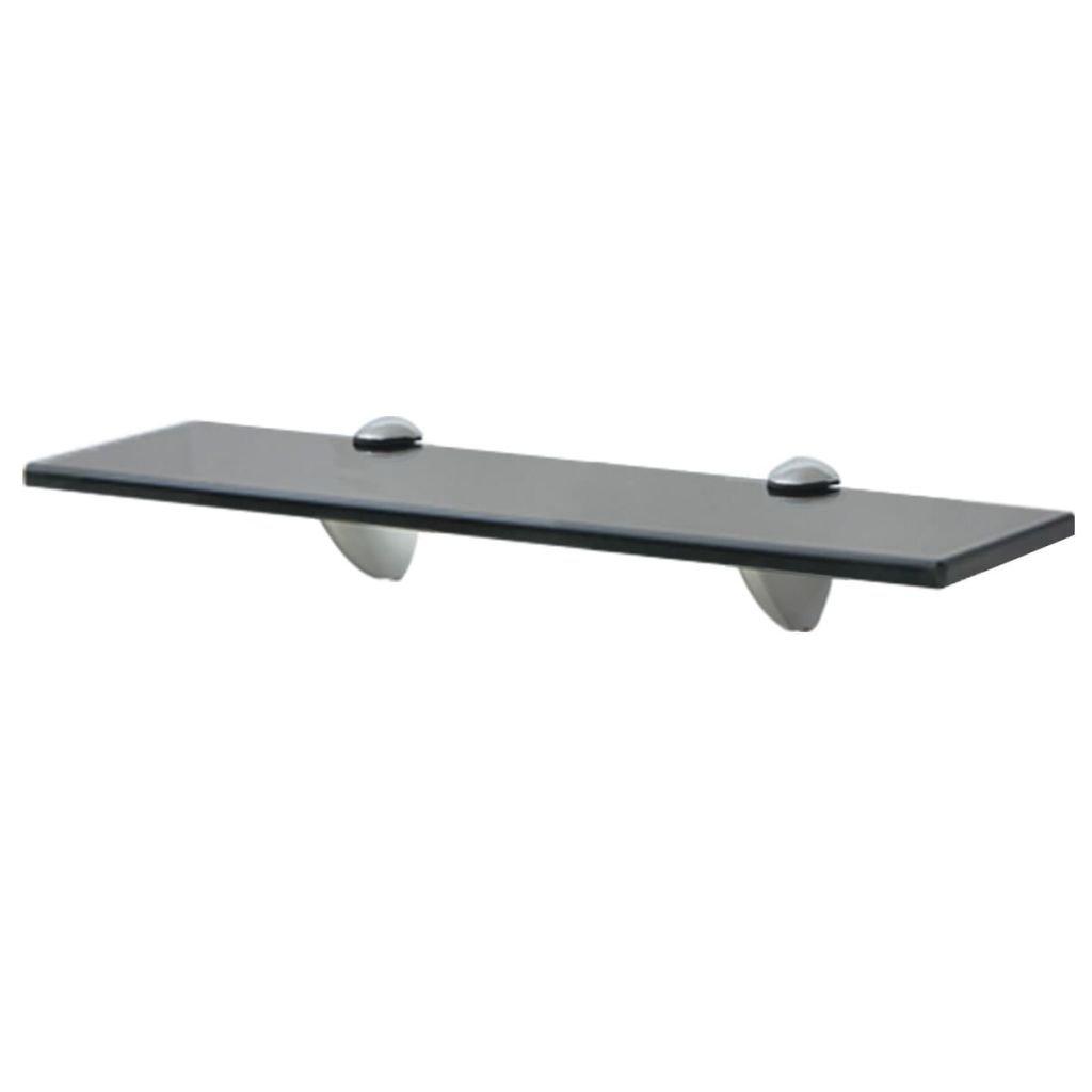 Plovoucí skleněná police - černý | 40x20 cm 8 mm