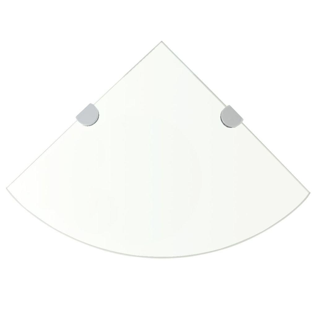 Rohová police s chromovými podpěrami - sklo čiré | 35x35 cm