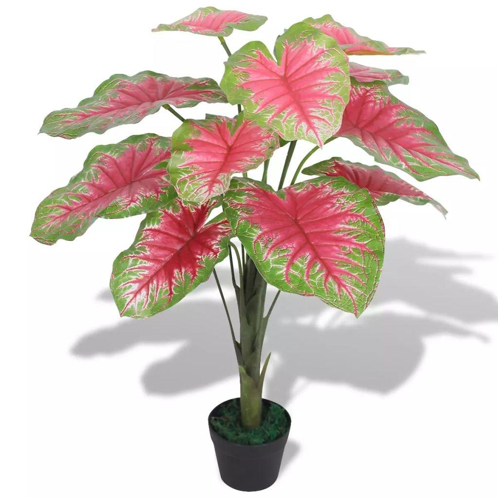 Umělá rostlina kaládium s květináčem - 70 cm   zelená a červená