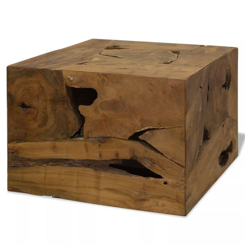 Konferenční stolek - pravý teak - hnědý | 50x50x35 cm