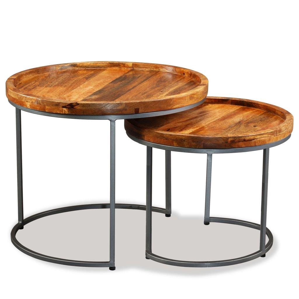 2dílný odkládací stolek Montreal z masivního dřeva