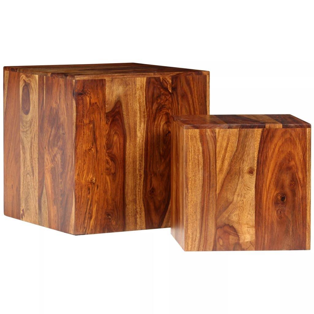 Konferenční stolek sada 2 kusů - masivní sheesham | 40x40x40 cm