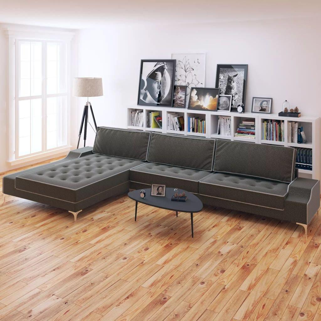 Rohová sedačka Goffs - textil - tmavošedá - XXL | 326x163x83 cm