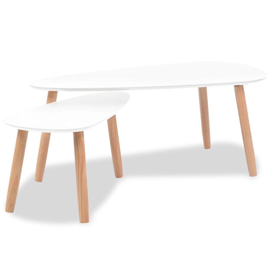 2dílná sada konferenčních stolků z masivní borovice | bílá