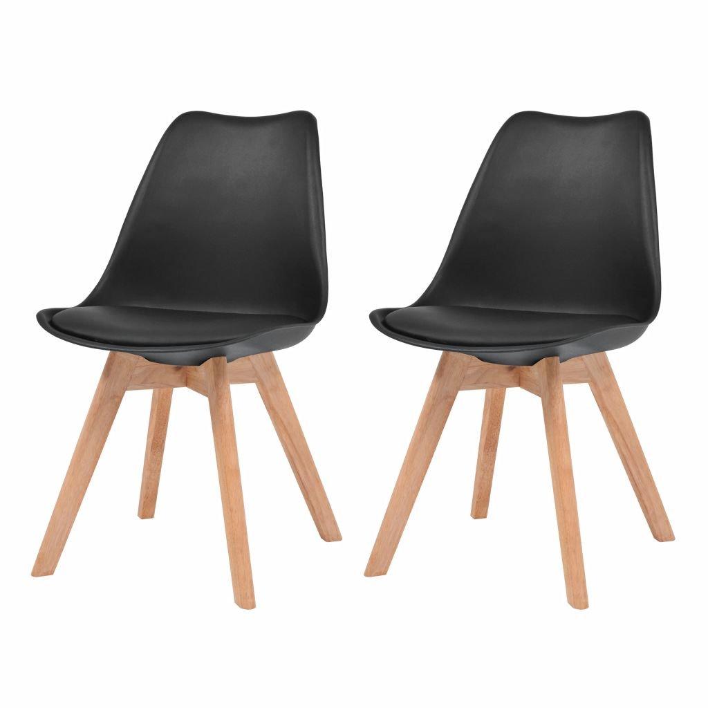 Jídelní židle Akron - dřevěný masiv a umělá kůže - 2 ks | černé