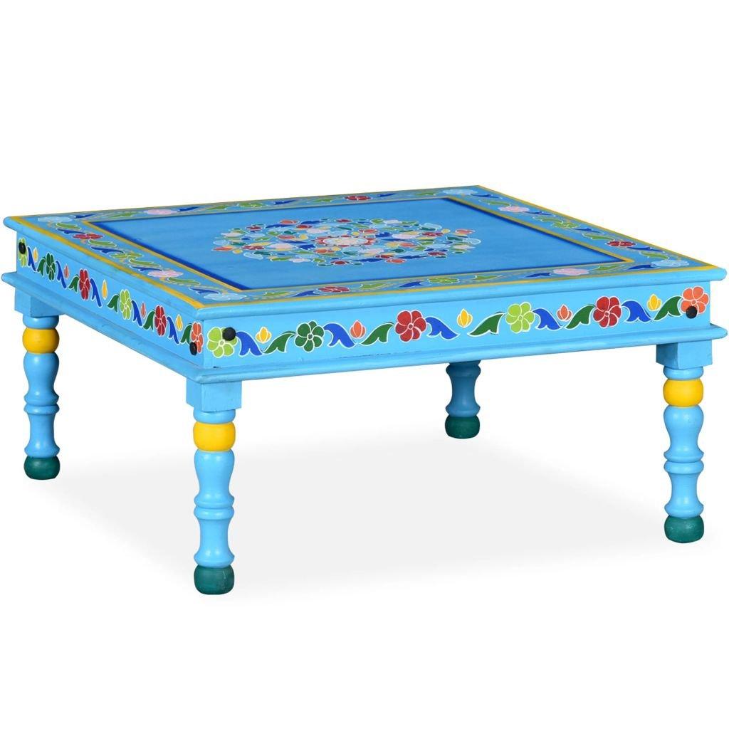Konferenční stolek - masivní mangovník - ručně malovaný | tyrkysový