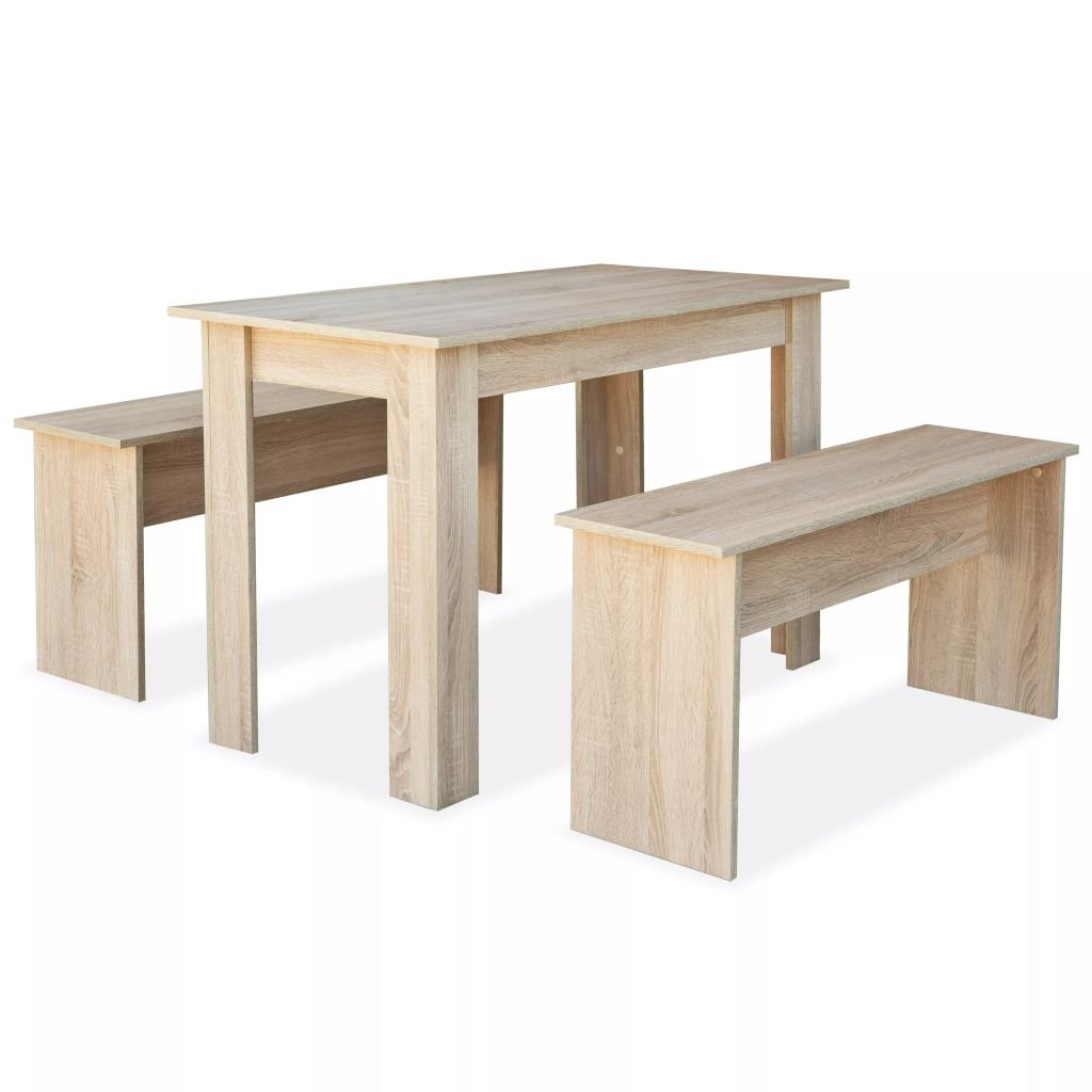 Jídelní stůl a lavice 3 ks - dub | dřevotříska