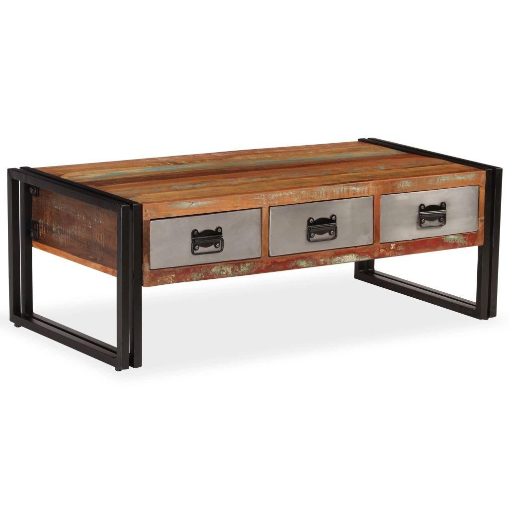 Konferenční stolek s 3 zásuvkami - recyklované dřevo | 100x50x35 cm