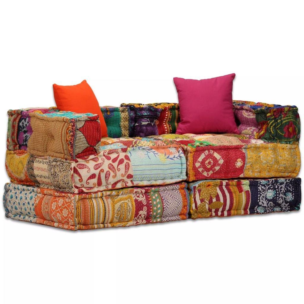 2-místná rozkládací pohovka s textilním čalouněním | patchwork