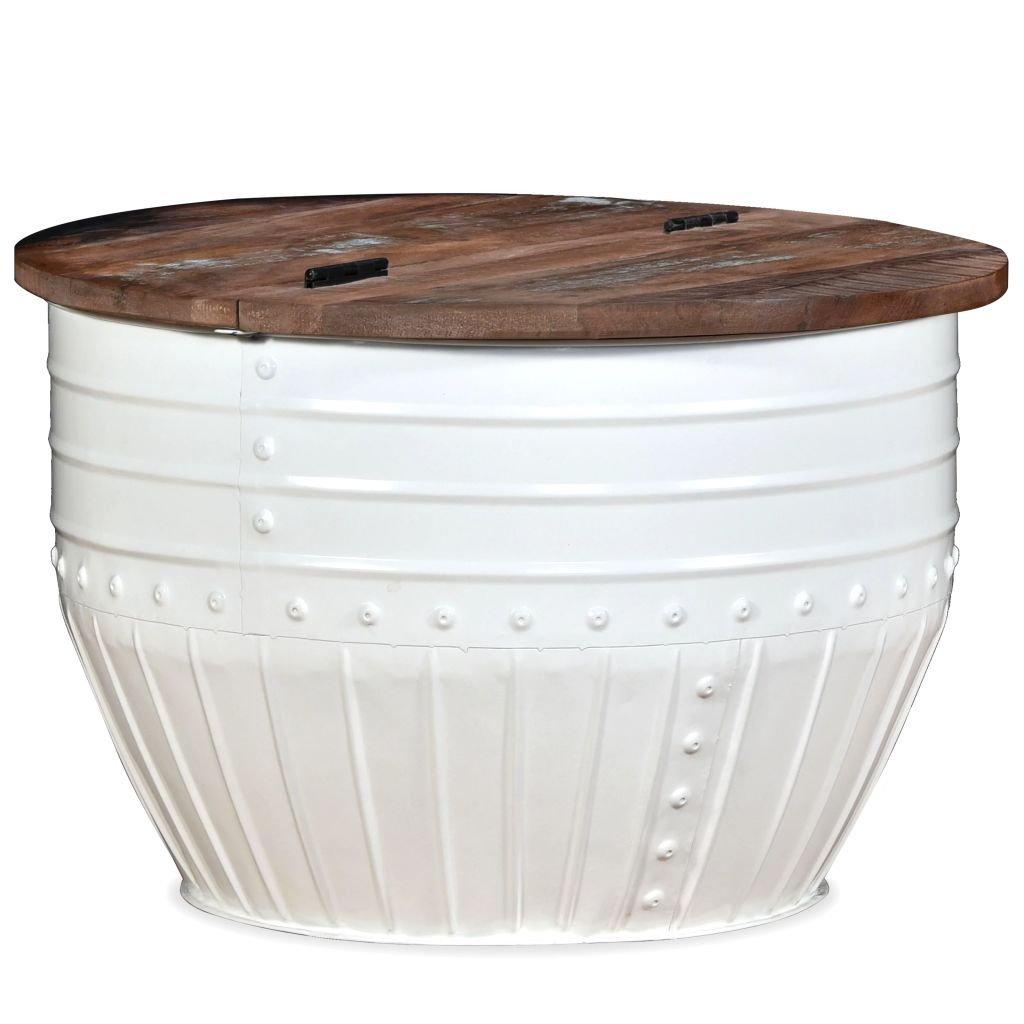 Konferenční stolek - masivní recyklované dřevo | bílý