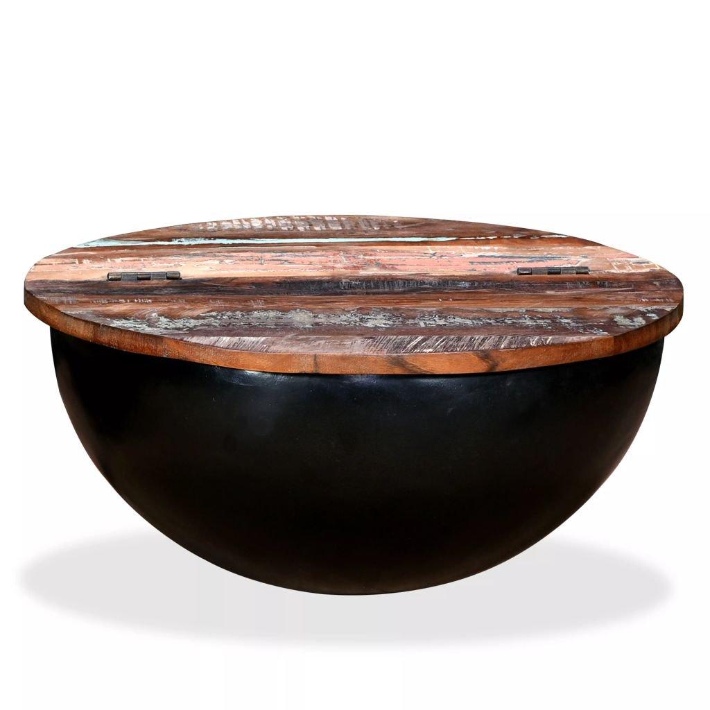 Konferenční stolek Windwood - masivní recyklované dřevo | černý