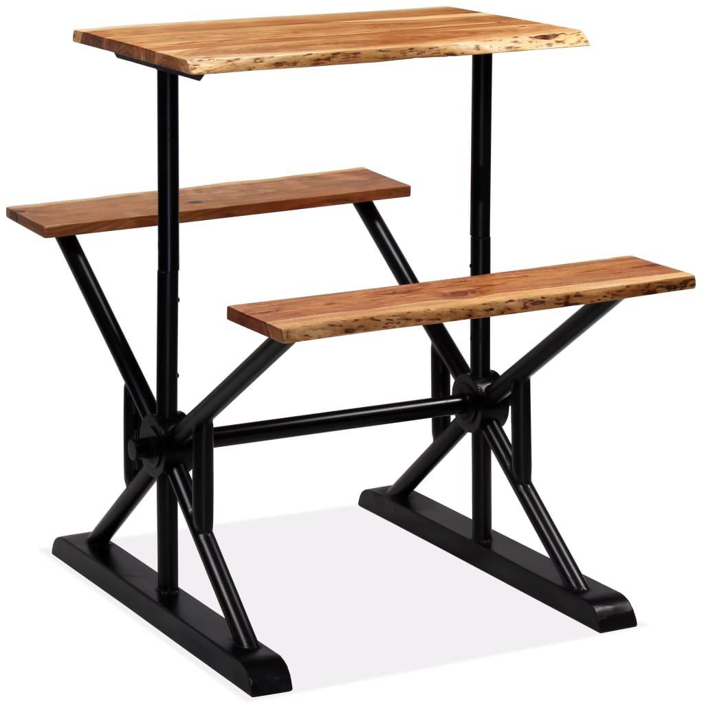 Barový stůl s lavicemi - masivní akáciové dřevo | 80x50x107 cm