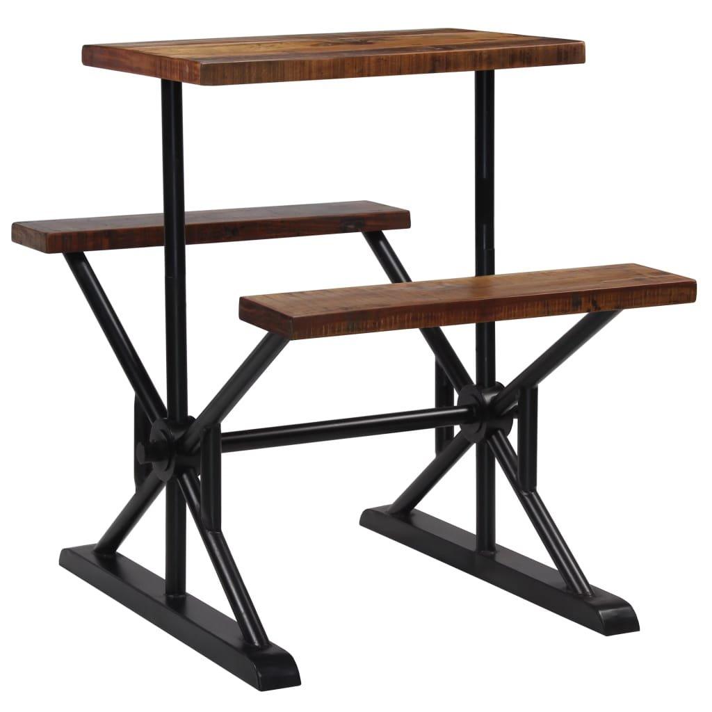 Barový stůl s lavicemi - masivní recyklované dřevo | 80x50x170 cm