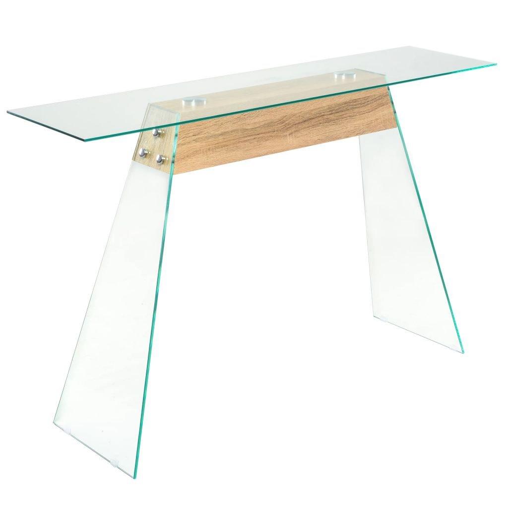Konzolový stolek z MDF a skla - dubový odstín | 120x30x76 cm