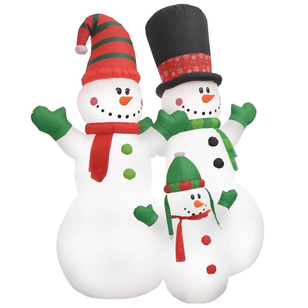 Vánoční nafukovací rodina sněhuláků - LED - IP44 | 240 cm