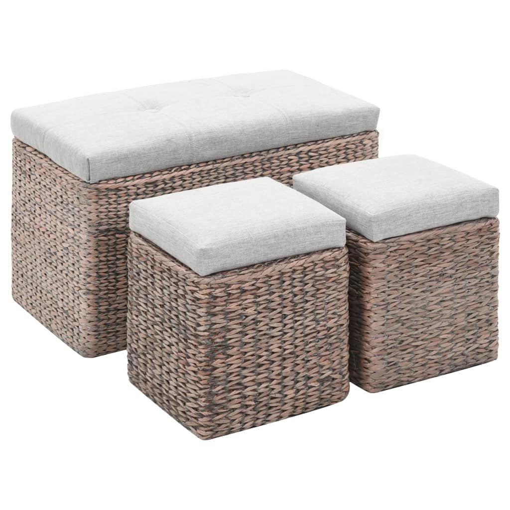 Lavice s 2 taburety z mořské trávy   šedá