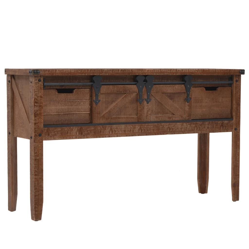 Konzolový stolek - masivní jedlové dřevo - hnědý | 131x35,5x75 cm