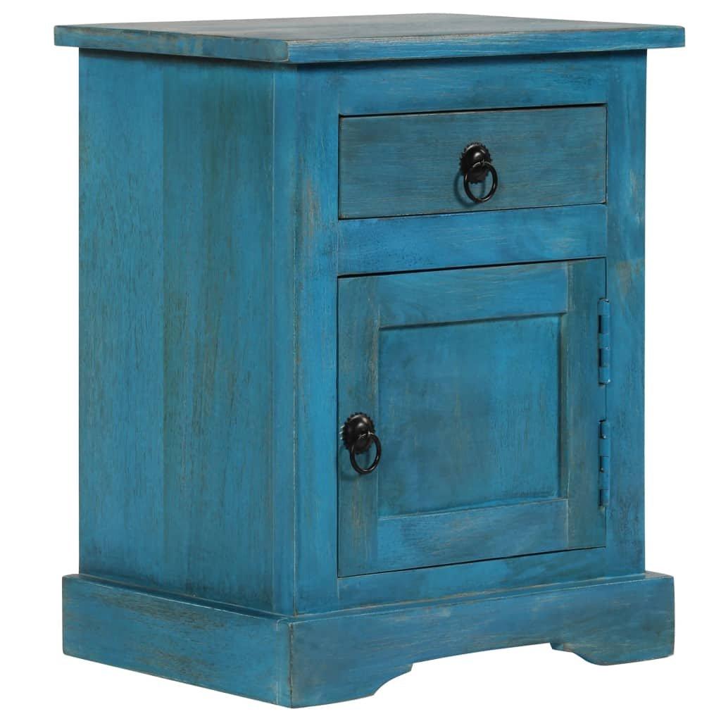 Noční stolek z masivního mangovníkového dřeva - modrý | 40x30x50 cm