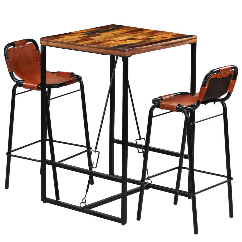 Barový set 3 kusy | masivní recyklované dřevo a pravá kozí kůže