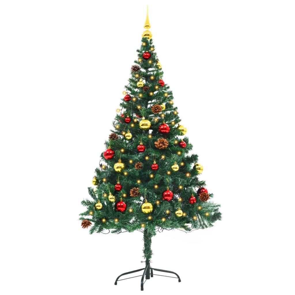 Umělý vánoční stromek ozdobený s baňkami a LED - 150 cm | zelený