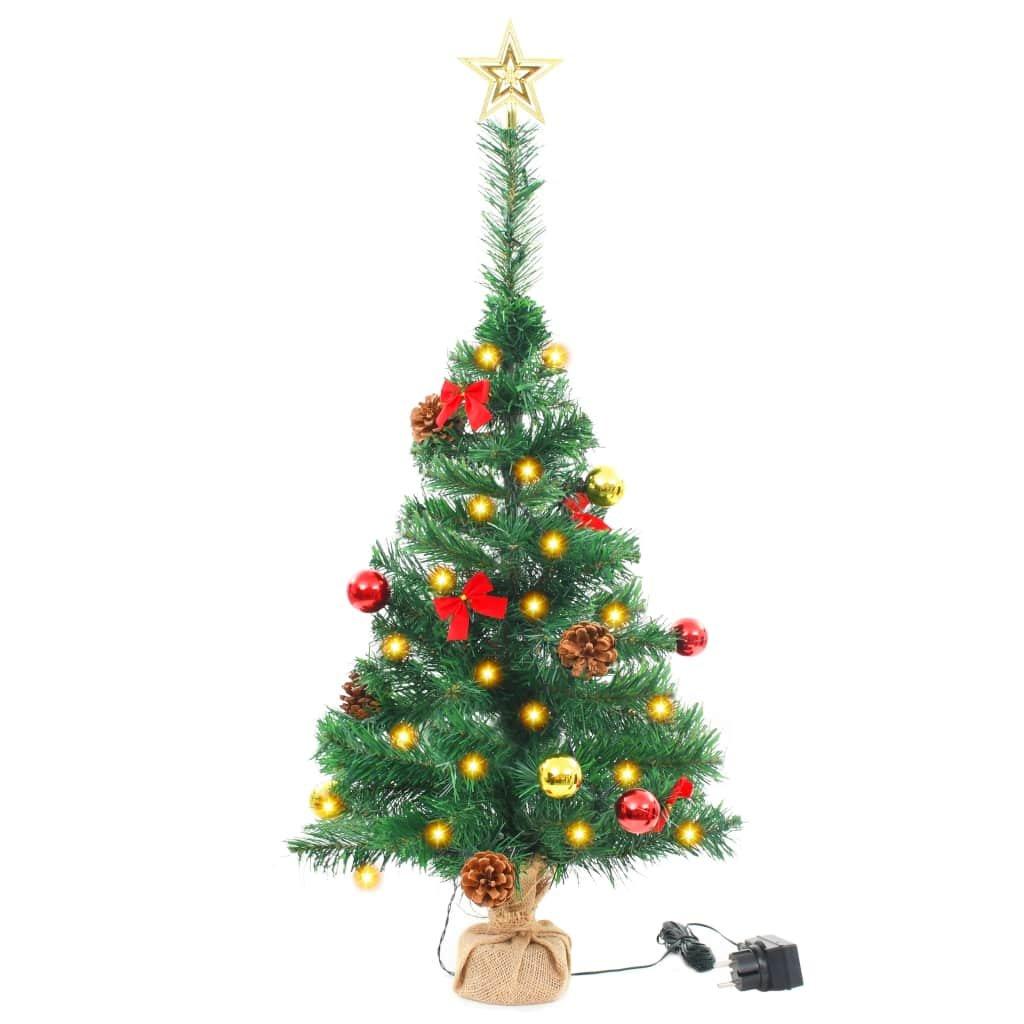 Umělý vánoční stromek ozdobený s baňkami a LED - 64 cm | zelený