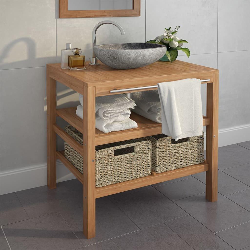 Koupelnová skříňka z teaku a umyvadlo z říčního kamene | 74x45x75 cm