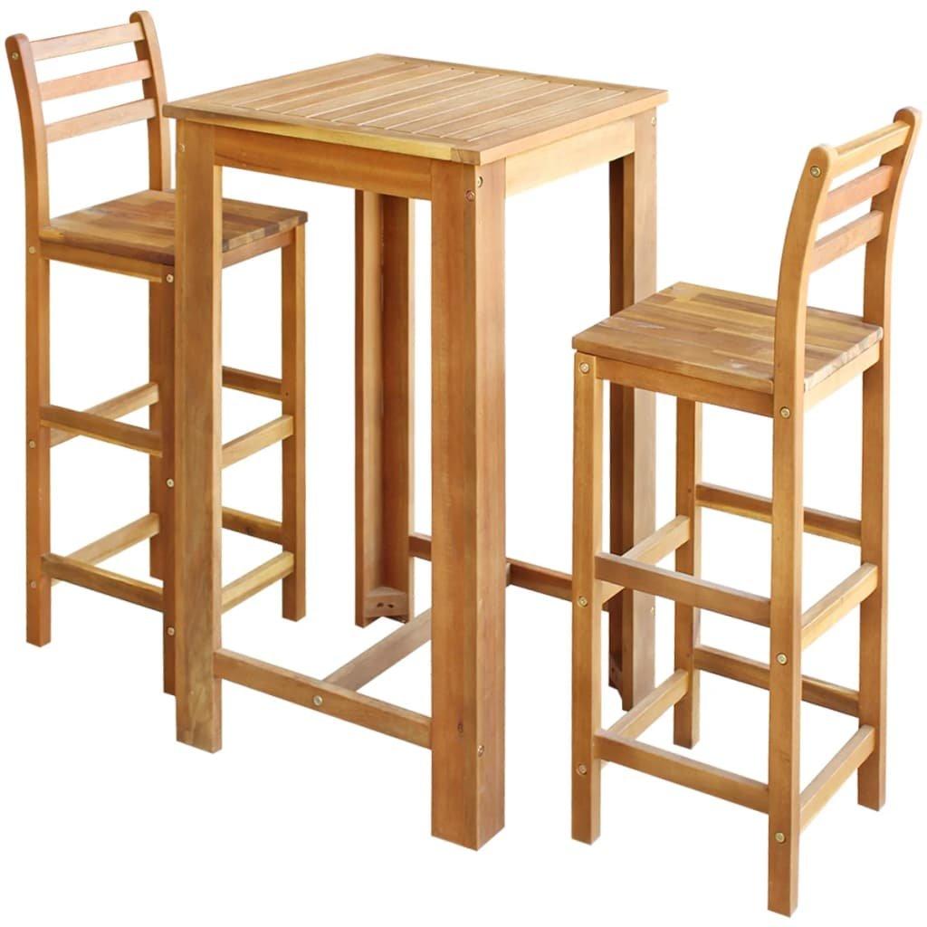 Barový stůl a židle z masivního akáciového dřeva sada 3 kusů