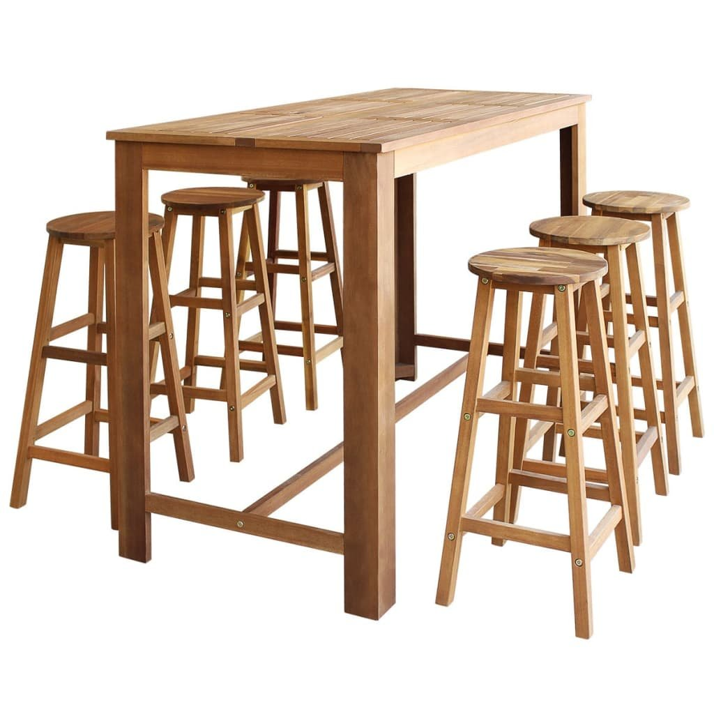 Barový stůl a stoličky z masivního akáciového dřeva sada 7 ks