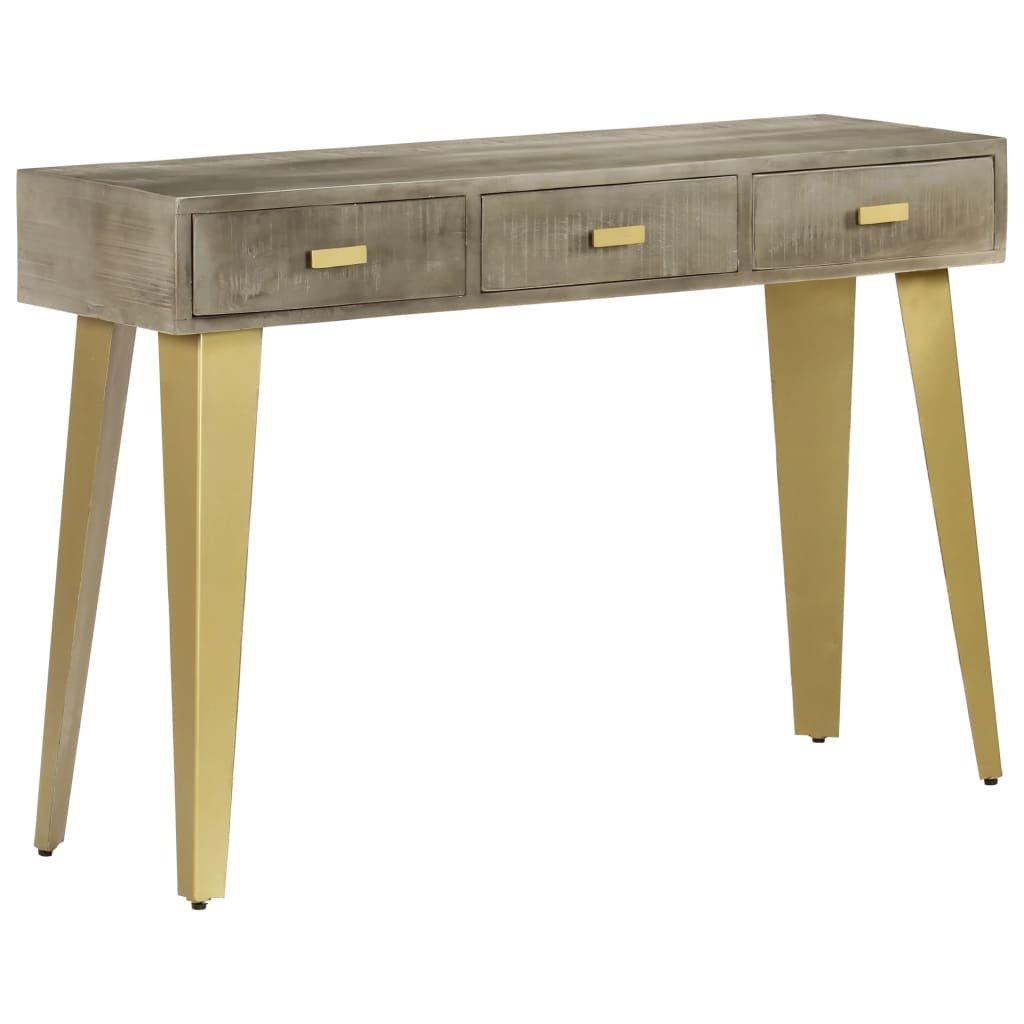 Konzolový stolek - masivní mangovník šedý s mosazí | 110x35x76 cm