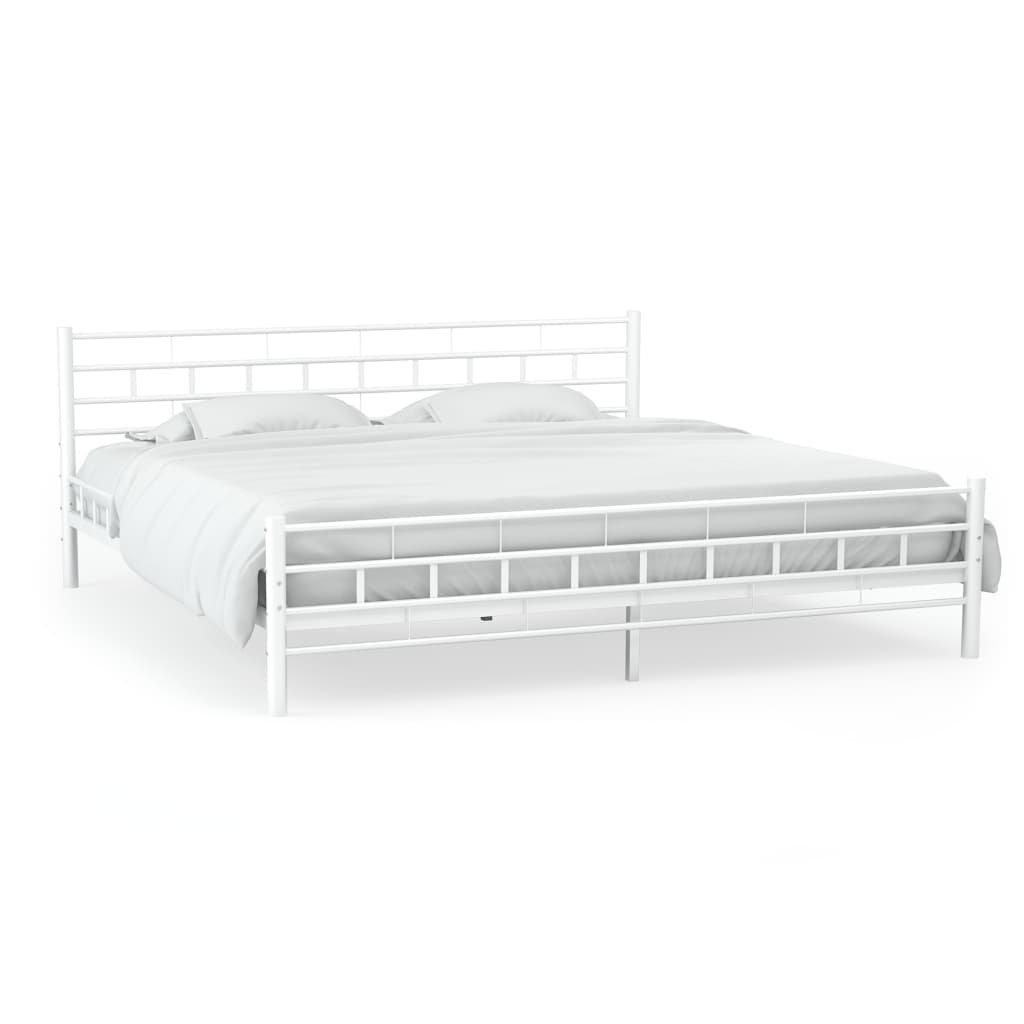 Kovový rám postele s laťkovým roštem - hranatý design - bílý | 140x200cm
