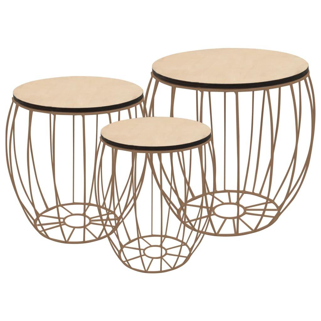 Konferenční stolek 3dílná sada z překližky (topol) a železa
