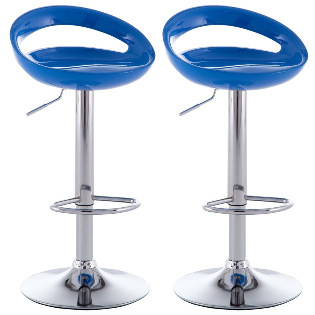 Barové stoličky z umělé hmoty 2 ks   modré