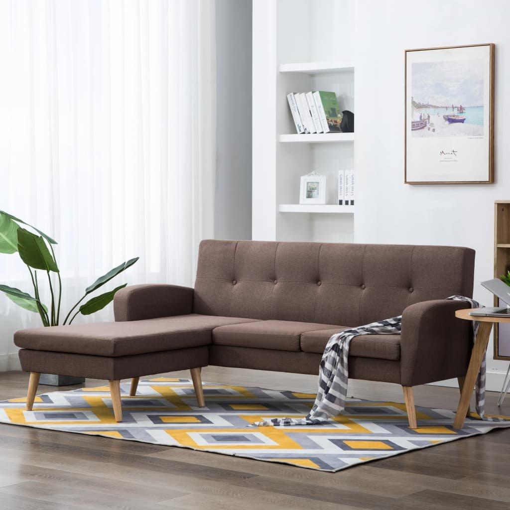 Rohová sedačka Crete - textilní čalounění - hnědá   186x136x79 cm