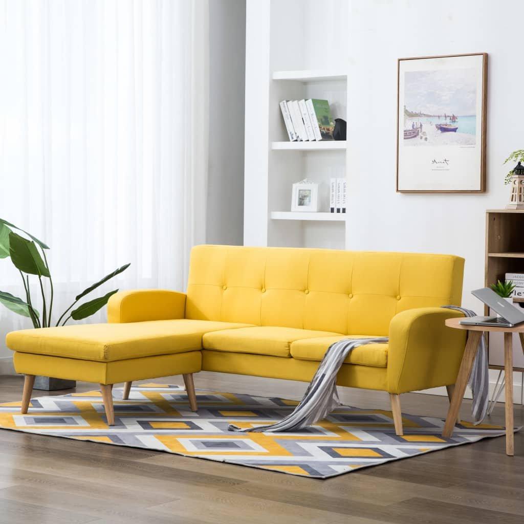 Rohová sedačka Crete - textilní čalounění - žlutá | 186x136x79 cm