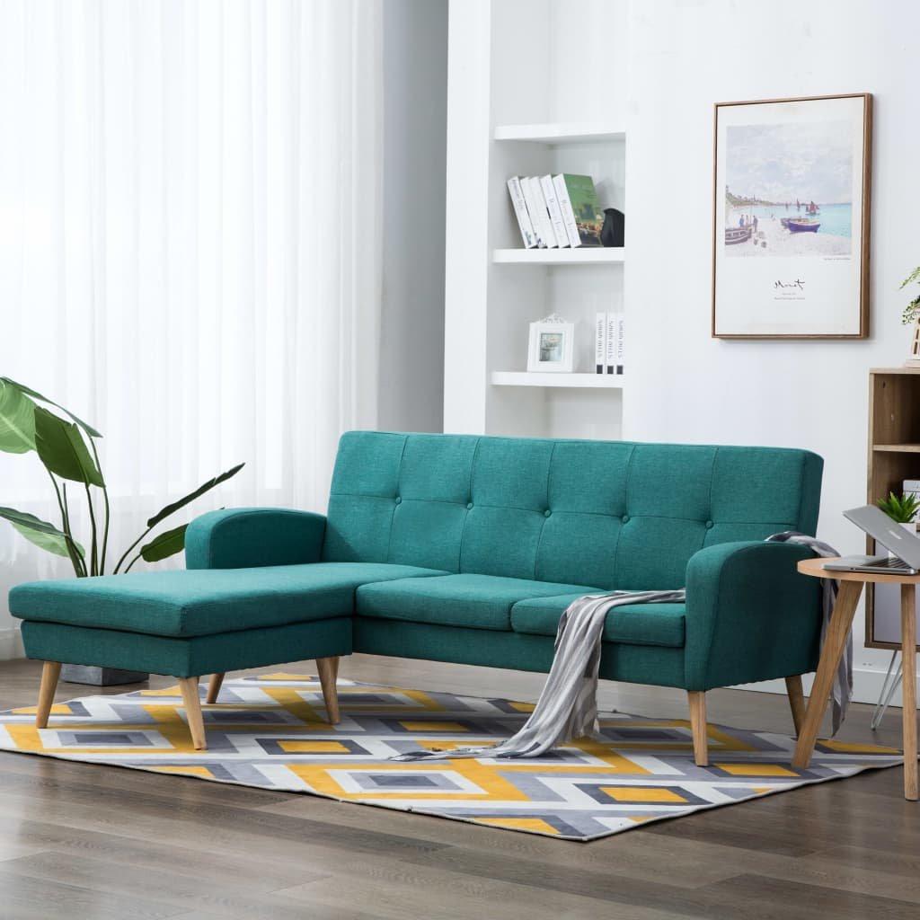 Rohová sedačka Crete - textilní čalounění - zelená | 186x136x79 cm