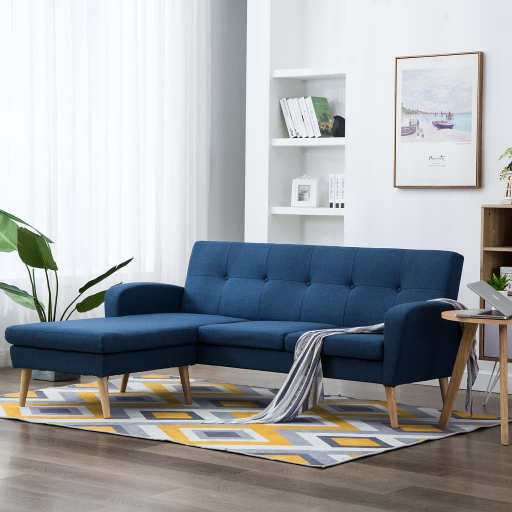 Rohová sedačka Crete - textilní čalounění - modrá | 186x136x79 cm