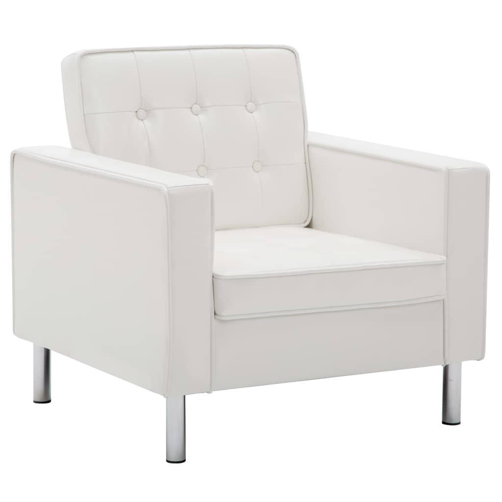 Křeslo z umělé kůže - bílé | 75x70x75 cm
