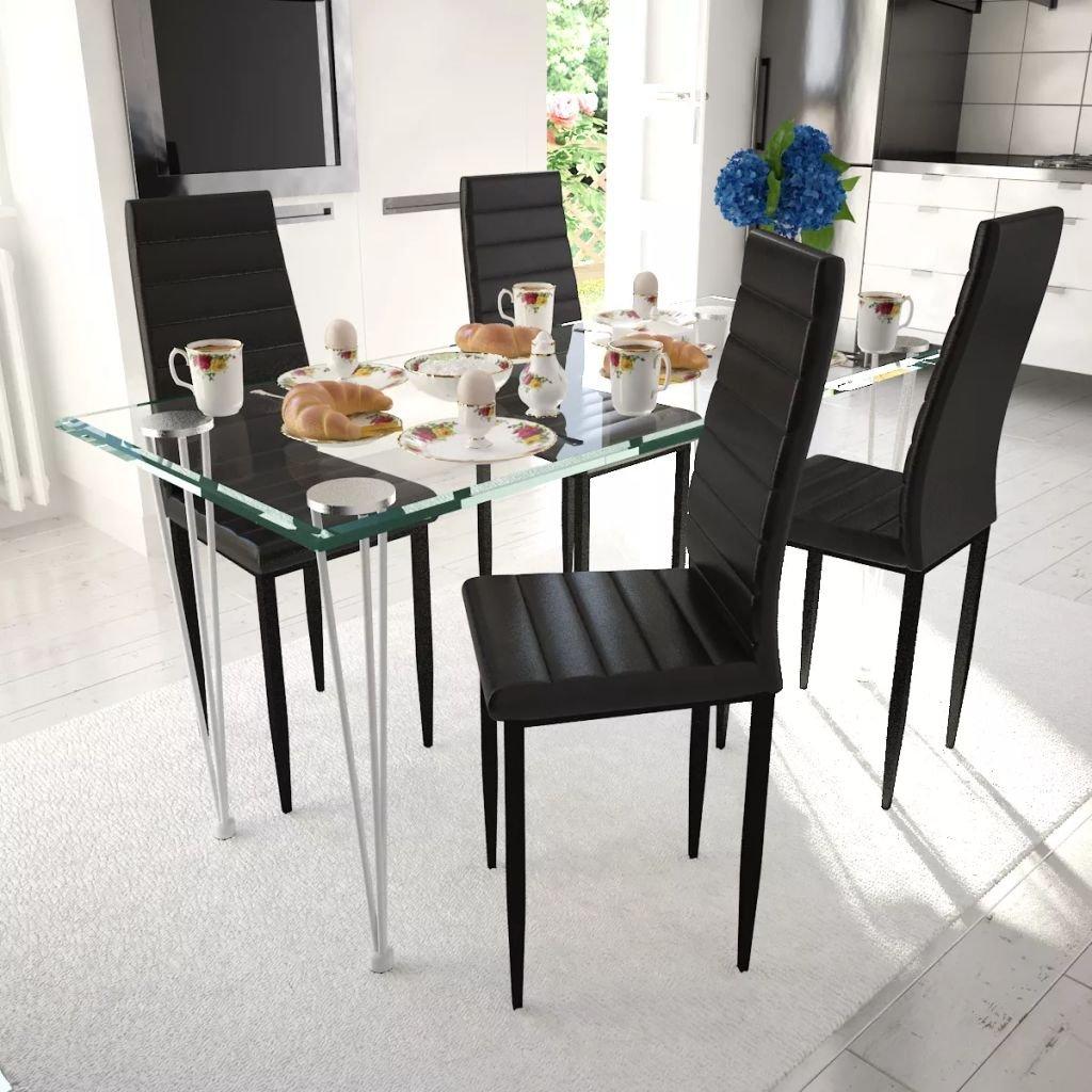 Jídelní set - černé židle štíhlé 4 ks a 1 skleněný stůl