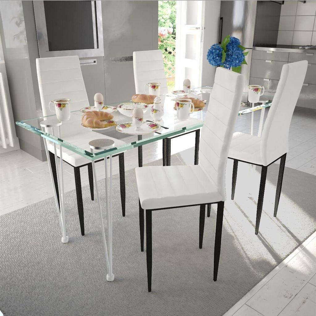 Jídelní set - bílé židle štíhlé 4 ks a 1 skleněný stůl