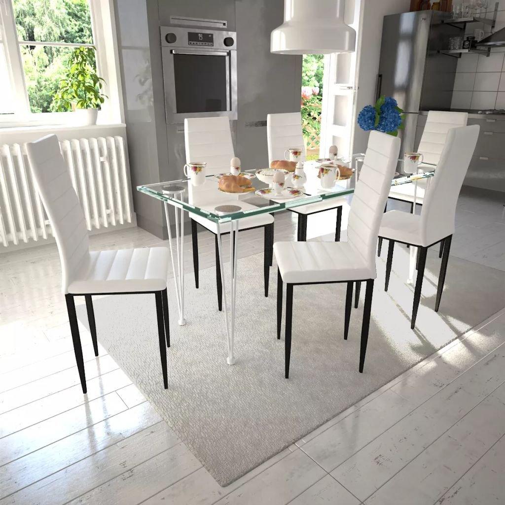 Jídelní set - bílé židle štíhlé 6 ks a 1 skleněný stůl