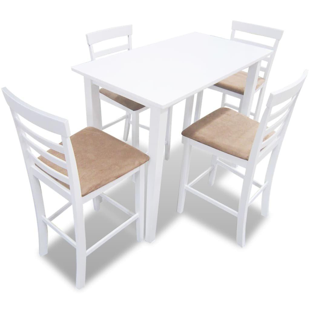 Bílý dřevěný barový stůl a 4 barové židle