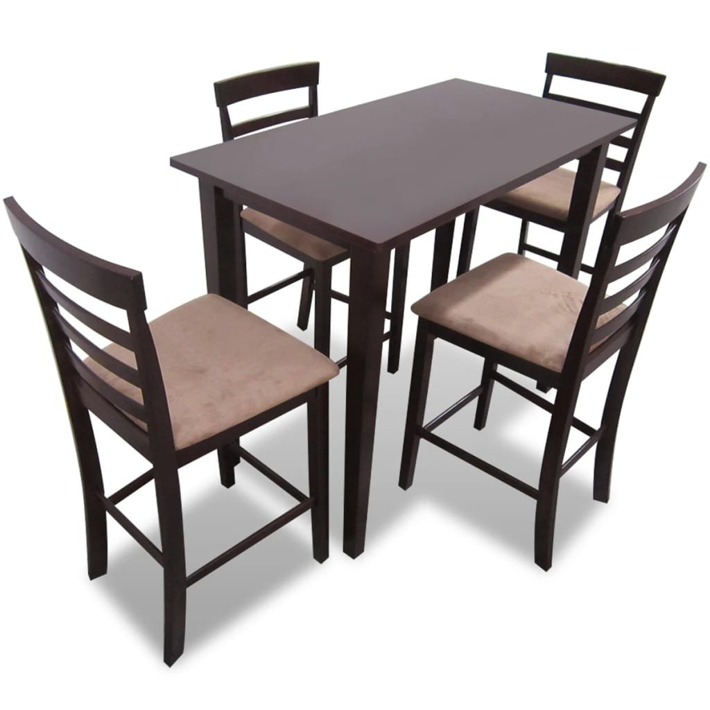Hnědý dřevěný barový stůl a 4 barové židle