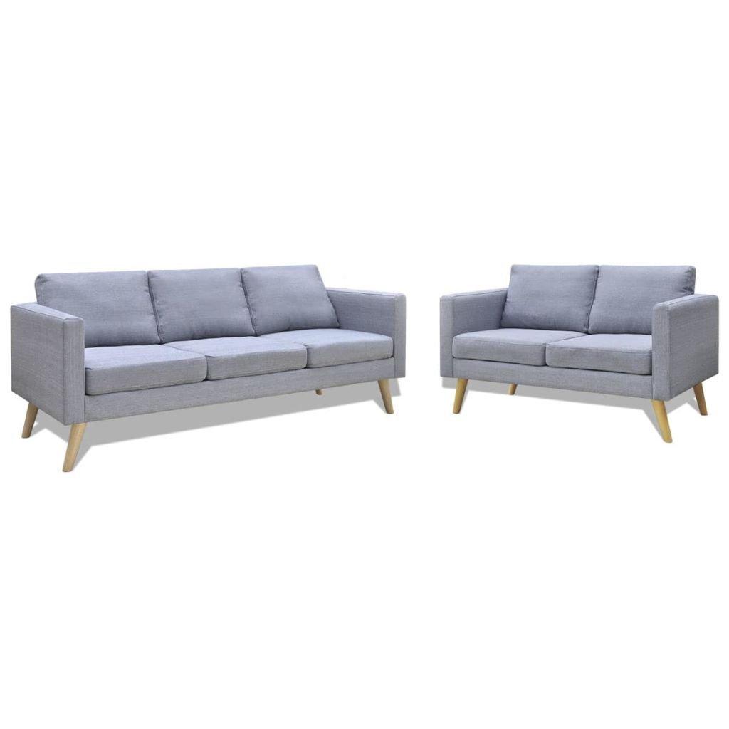 2dílná sedací souprava Holton - textilní | světle šedá