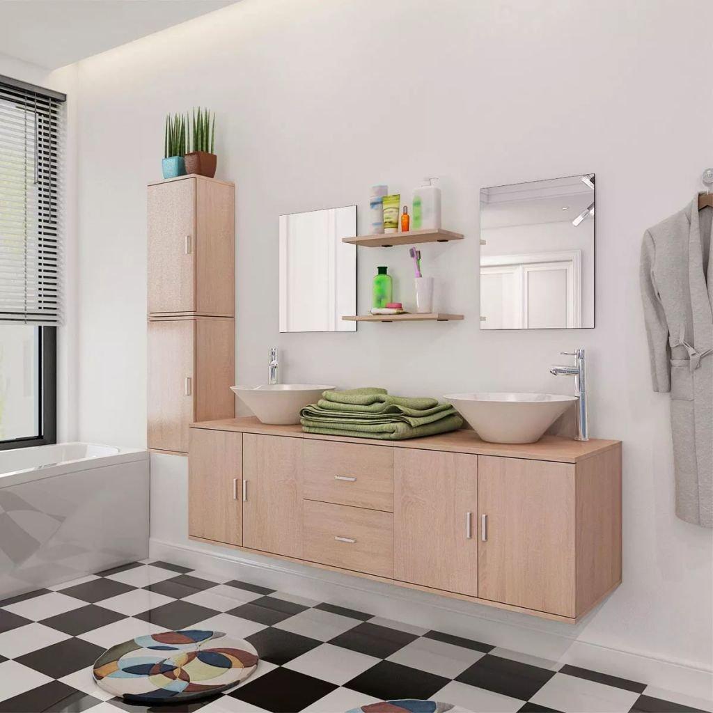 Set koupelnového nábytku - 11kusový - s umyvadlem a baterií   béžový