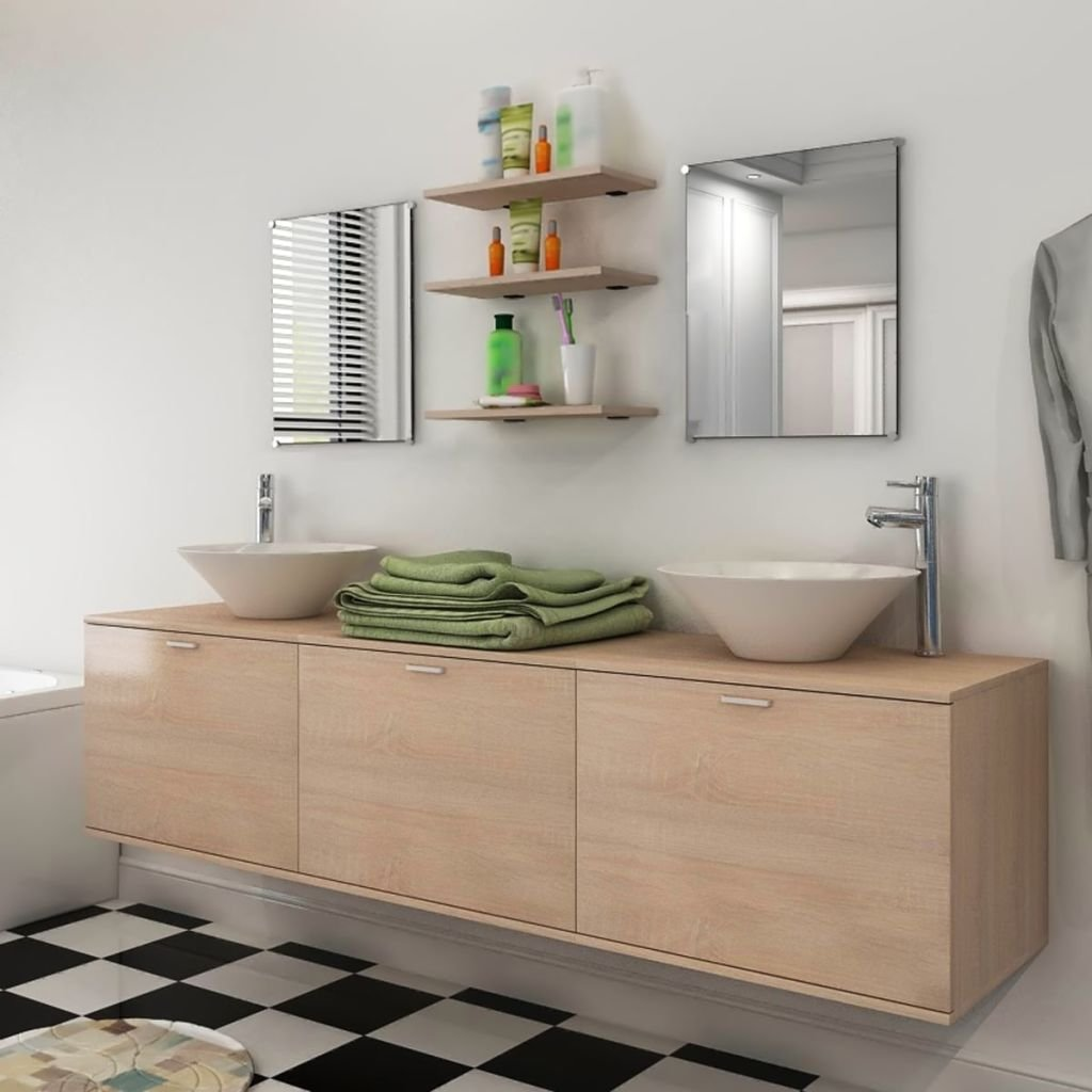Set koupelnového nábytku 180 cm - 9kusový - s umyvadlem a baterií   béžový